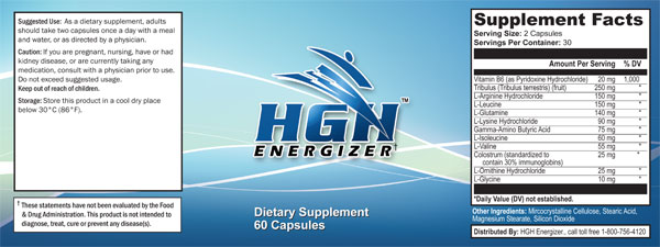 HGH Energy Label