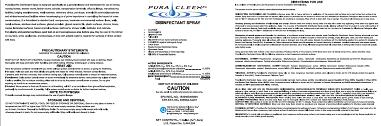 PuraCleenRx Disinfectant Spray label PDF